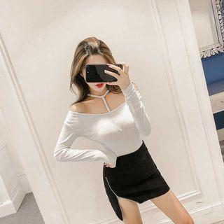 🚚 PO 1207 Halter Neck Thin Strap Long Sleeve Fitted T-Shirt Top Ulzzang white