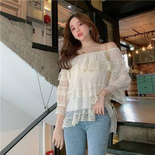 PO 1205 3 Layered Cake Layer Lace Pattern Off Shoulder Long Sleeve Shirt Blouse Summer Ulzzang black/white