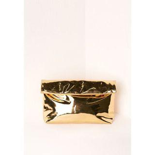 🚚 Missguided high shine roll top gold clutch bag