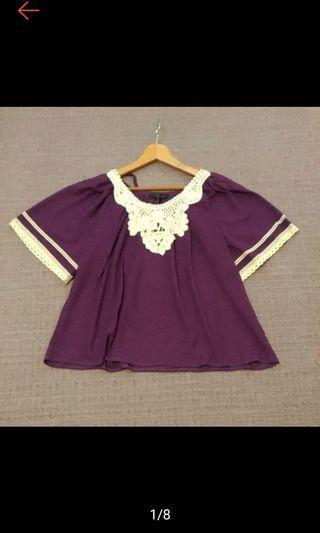 全新 日本 SILENT WORTH 俏麗 立體緹花拼接 後蝴蝶結綁帶 娃娃式 透膚 5分袖上衣