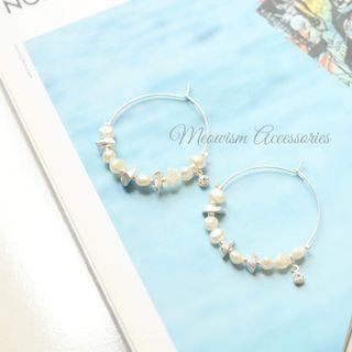 韓國天然珍珠大圈耳環