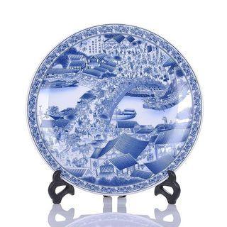 青花瓷清明上河圖盤Qingming river chart plate