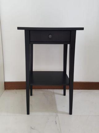 Hemnes bedside side table black brown