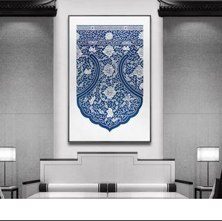青花瓷墻畫(Blue and white porcelain wall painting)