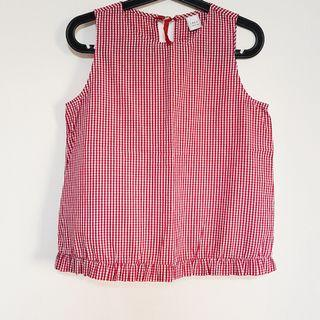 🚚 Red and white gingham check blouse