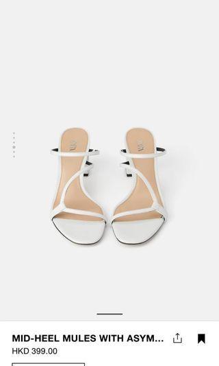 Zara white mid-heels sandals