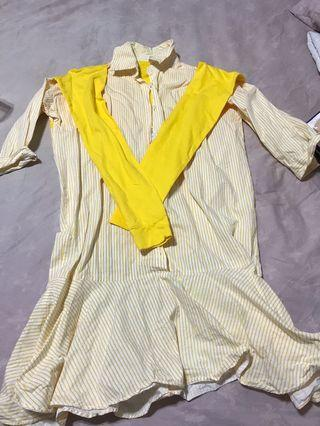 🚚 條紋假二件襯衫洋裝