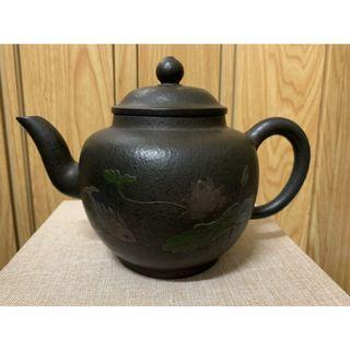 ~壺風茶道~A110《宜興紫砂堆泥泥繪窯變壺 》古董、茶壺、普洱茶、紫砂壺