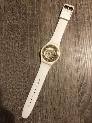 Swatch 白色金色手錶 white gold watches