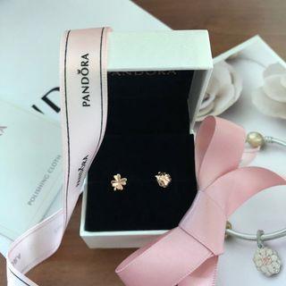 Pandora Rose Stud Earrings Four-Leaf-Clover & Ladybird