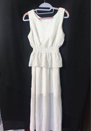 🚚 水玉黑圓點白色 長洋裝