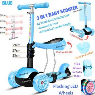 KIDS Scooter 3 in 1 - Flashing LED Wheels 5cm Thick, Removable Seat & Adjustable Handlebar Heights (Pink,Blue,Mint)