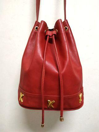 Authentic Paloma Picasso Red Genuine Leather Bucket Bag