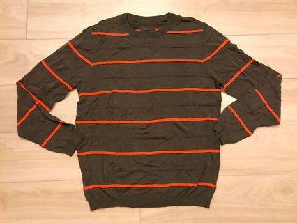 Men brown and neon red stripes summer long sleeve