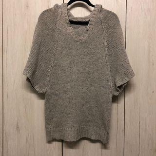 🚚 白灰混色五分袖連帽毛衣