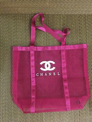 Ready stock: Chanel Complimentary vip gift mesh black pink tote