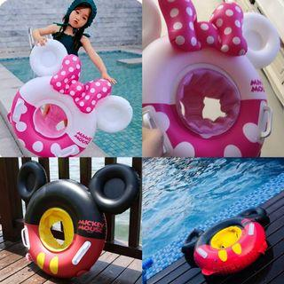 🚚 Mickey Mouse & Minnie Mouse Character Shaped Inflatable Baby Float with Handle (Ready Stock)