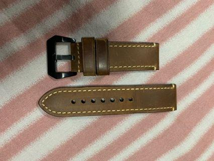 🚚 24mm Brown leather watch strap