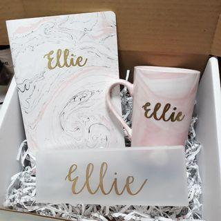 Personalised Gift Box Gift Set Bridesmaid Proposal Box Wedding Gift Anniverdary Birthday Gift Present Corporate Gift Farewell Graduation Gift Embossed Customised Calligraphy Diy Personalised for Girlfriend Customised Pencil Case Marble Mug Marble Notebook