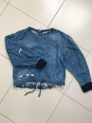RAYA PROMO! Fashion Ripped Denim Top with Exposed Metal Zipper #CarouRaya