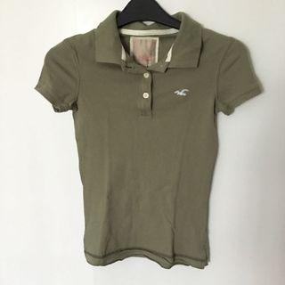 Authentic Hollister destroyed vintage green polo tee