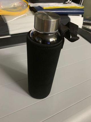 Water bottle, brand new, glass, slim, air tight, beautiful