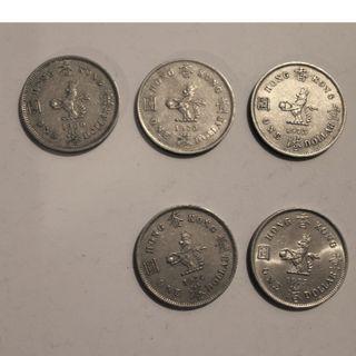 60, 70, 73 74, 75香港 $1大銀共 5枚