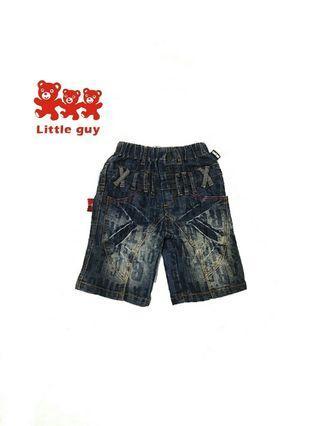 📣免運📣Little guy自創品牌 個性有型 字母 後拉鍊假口袋設計 刷色男童五分牛仔褲(9號)