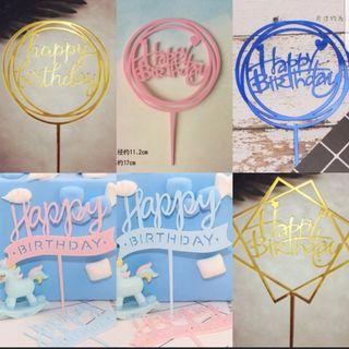 Happy birthday Acrylic toppers for party cake /Cupcake/Muffin Toppers for Party Decoration