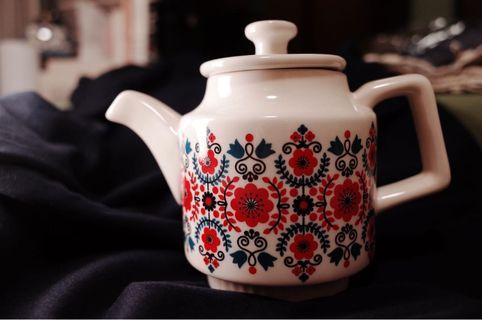 北歐vintage復古花花茶壺
