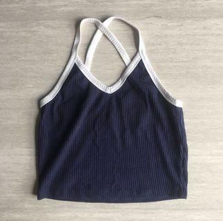 temt valleygirl cross back v-neck sporty crop top