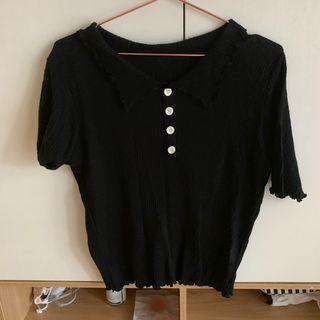 pimgo針織黑捲邊polo衫