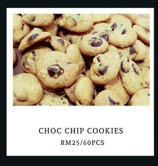 Chocolate chips cookies : Kuih Raya