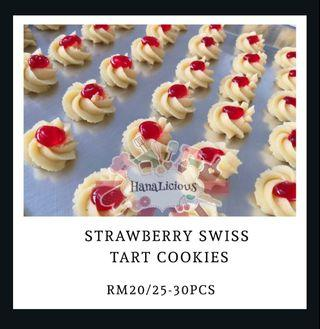 Strawberry Swiss Tart Cookies Kuih Raya