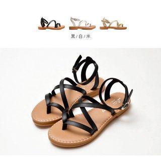 全新 黑色 交叉繞帶夾腳羅馬涼鞋 涼鞋 平底鞋