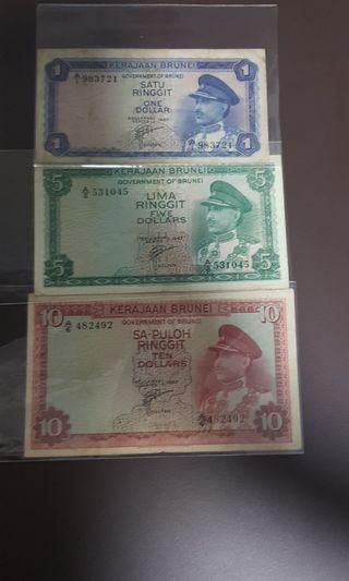 Brunei First Series Notes For Sale ($1,$5,$10)