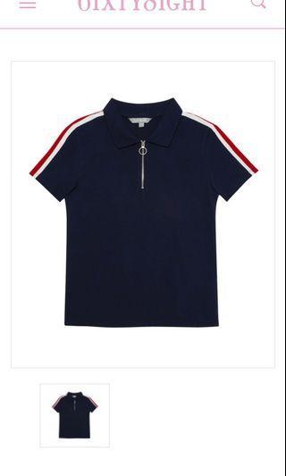 🚚 6ixty8ight Stripe Zip Neck Polo
