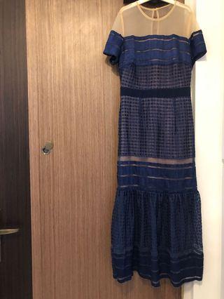 Self portrait look alike drop hem navy blue dress