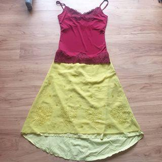 Bundle: BNWT full yellow embellished MOSCHINO JEANS Donna skirt + maroon THE LIMITED camisole blouse with lace