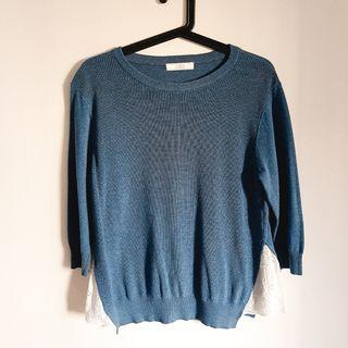🚚 Blue sweater with lace sides