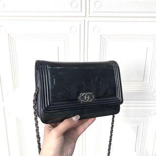 Authentic Pre-loved Chanel Le Boy Wallet On Chain Patent Dark Green