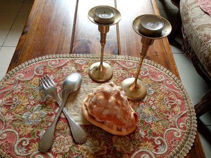 🚚 燭台貝殼Italy制純鐵刀叉70年