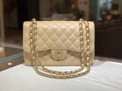 Authentic Pre-loved Chanel Jumbo Caviar Leather Double Flap Bag GHW