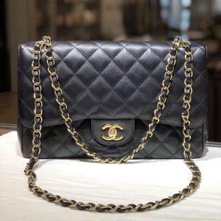 Authentic Pre-loved Chanel Jumbo Caviar Leather GHW Double Flap