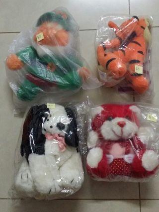 4 soft toys