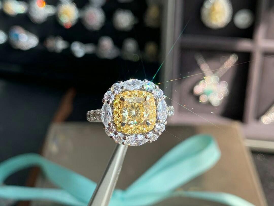 高碳黃鑽女戒指