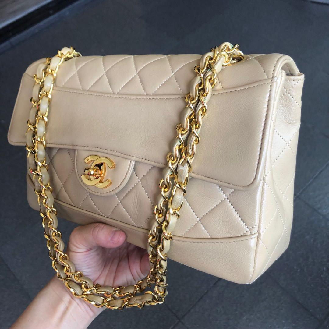 Authentic Chanel 9 Inch Single Flap Nude Lambskin Bag w 24k Gold Hardware