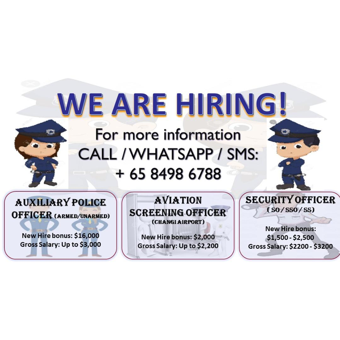 AUXILIARY POLICE OFFICER JUNE INTAKE – NEW HIRE BONUS $16000