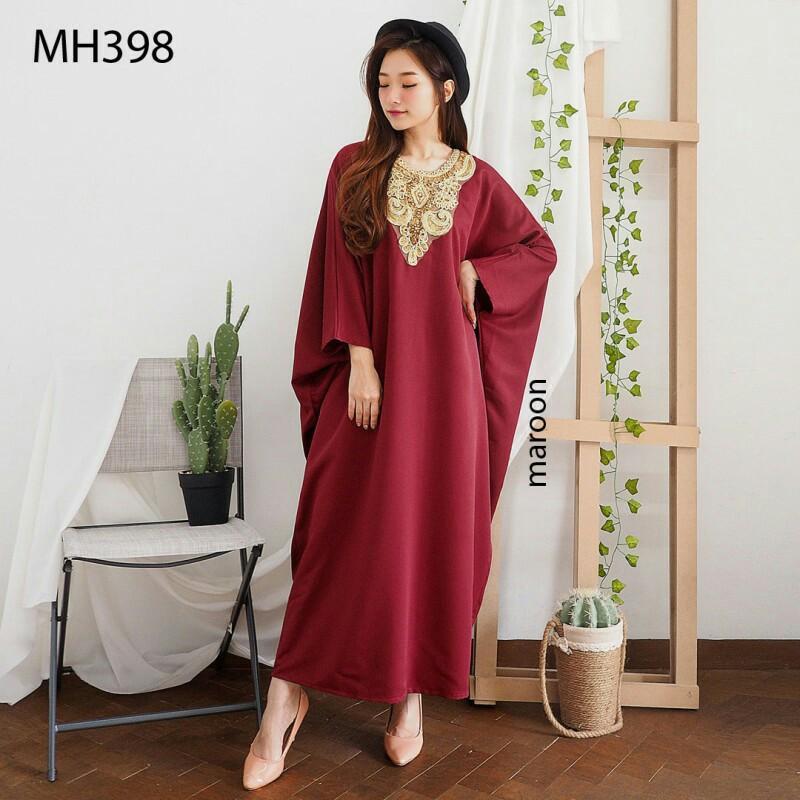 Bisa S-XXL D6387 Midi dress kaftan pendek dress pesta polos dress kondangan dress lebaran