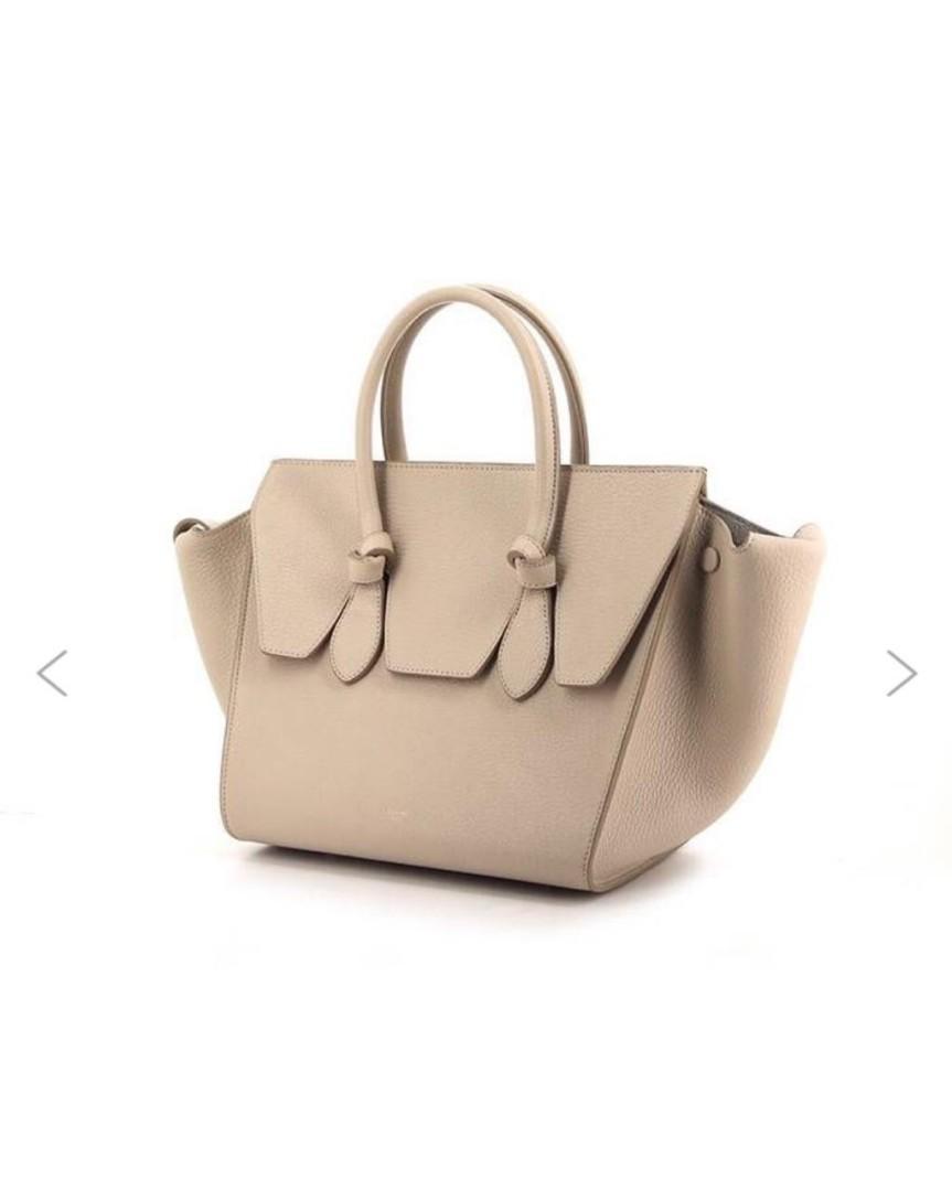 CELINE Tie bag large in beige leather